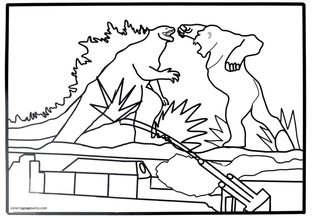 Kong Punches Godzilla Coloring Page