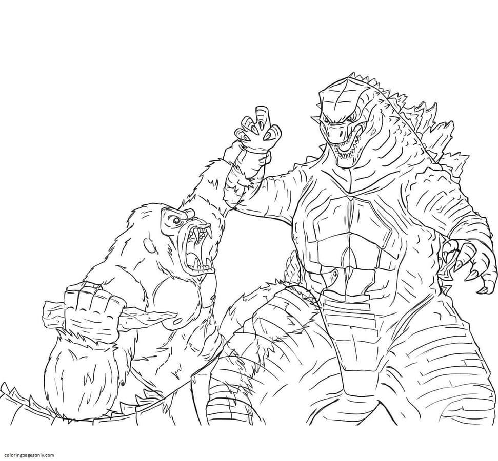 Kong and Godzilla Coloring Page