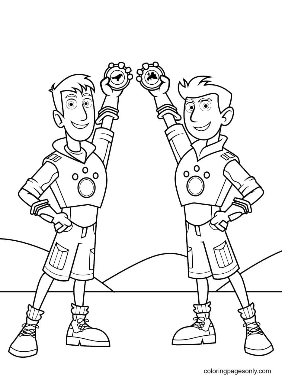 Kratts brothers holding the discs that activate the Creature Power Suits Coloring Page