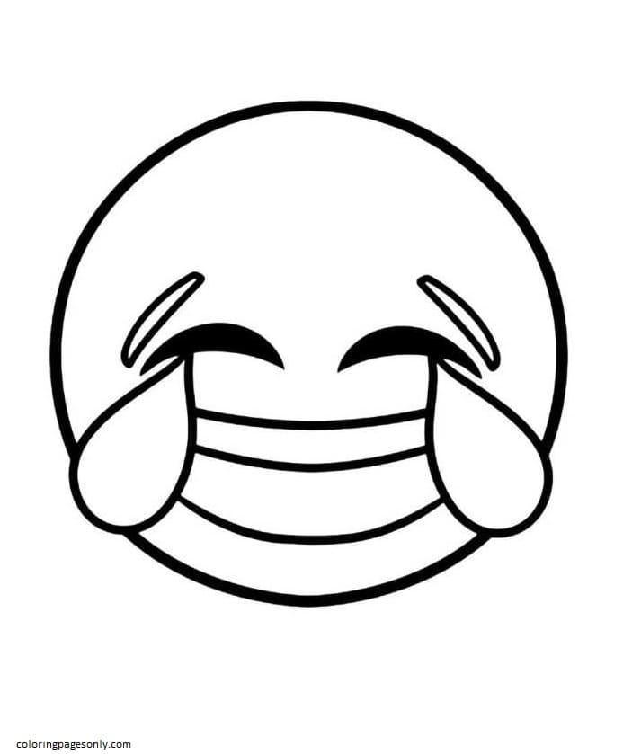 Laughing Emoji Coloring Page