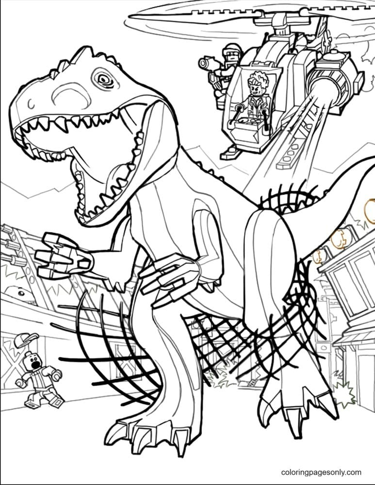 Lego Jurassic Park Coloring Page