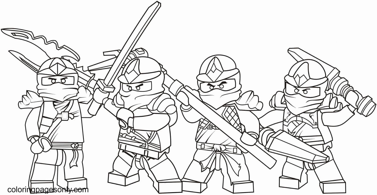 Lego Ninja fighting Coloring Page