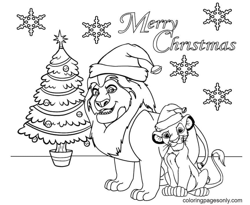 Lion King Christmas Coloring Page