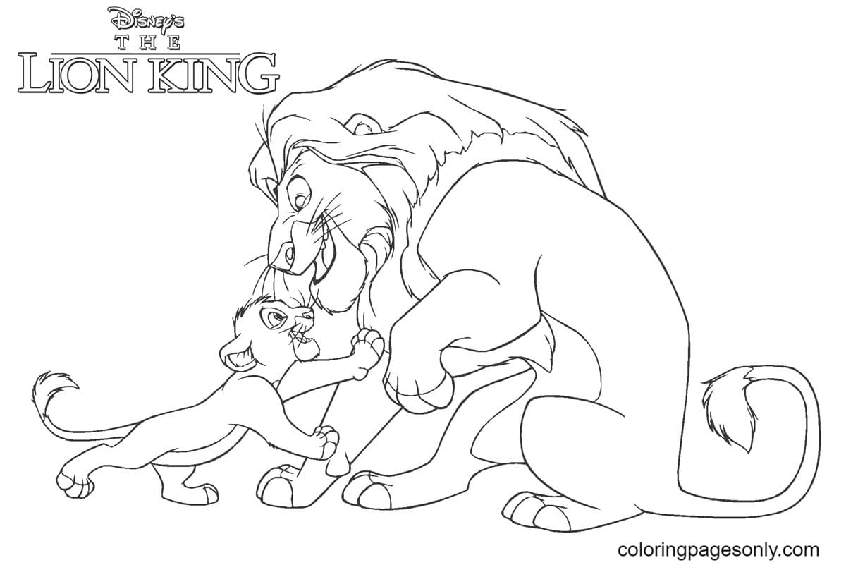 Lion King Mufasa with Simba Coloring Page