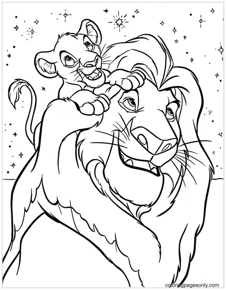 Lion King Mufasa with his son Simba Coloring Page