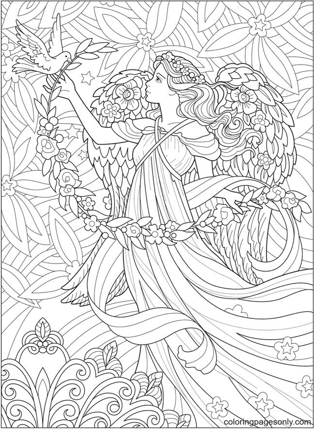 Little Girl and Bird Coloring Page