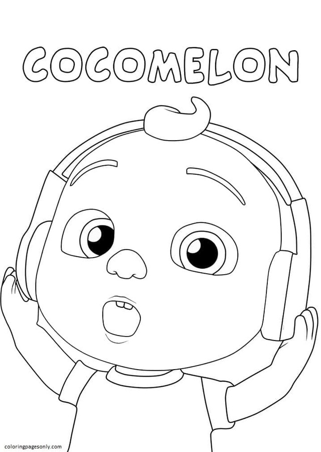 Little Johnny with Headphones Coloring Page