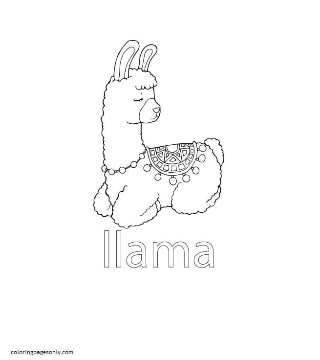 Llama Coloring Page