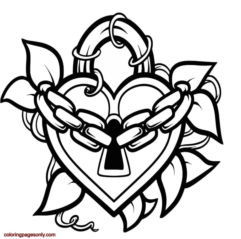 Locked Heart Coloring Page