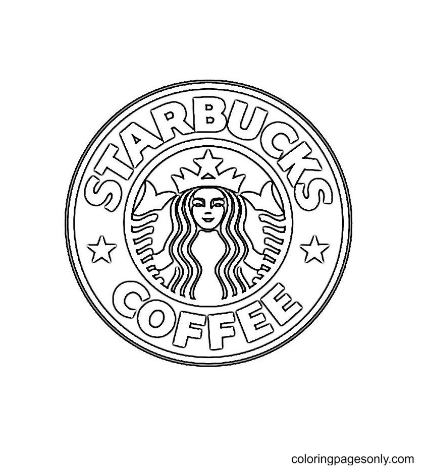 Logo Starbucks Coffee Coloring Page