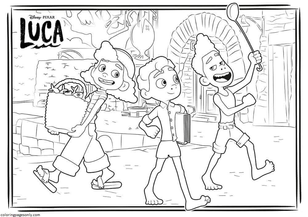 Luca, Alberto, And Giulia On Italian Lane Coloring Page