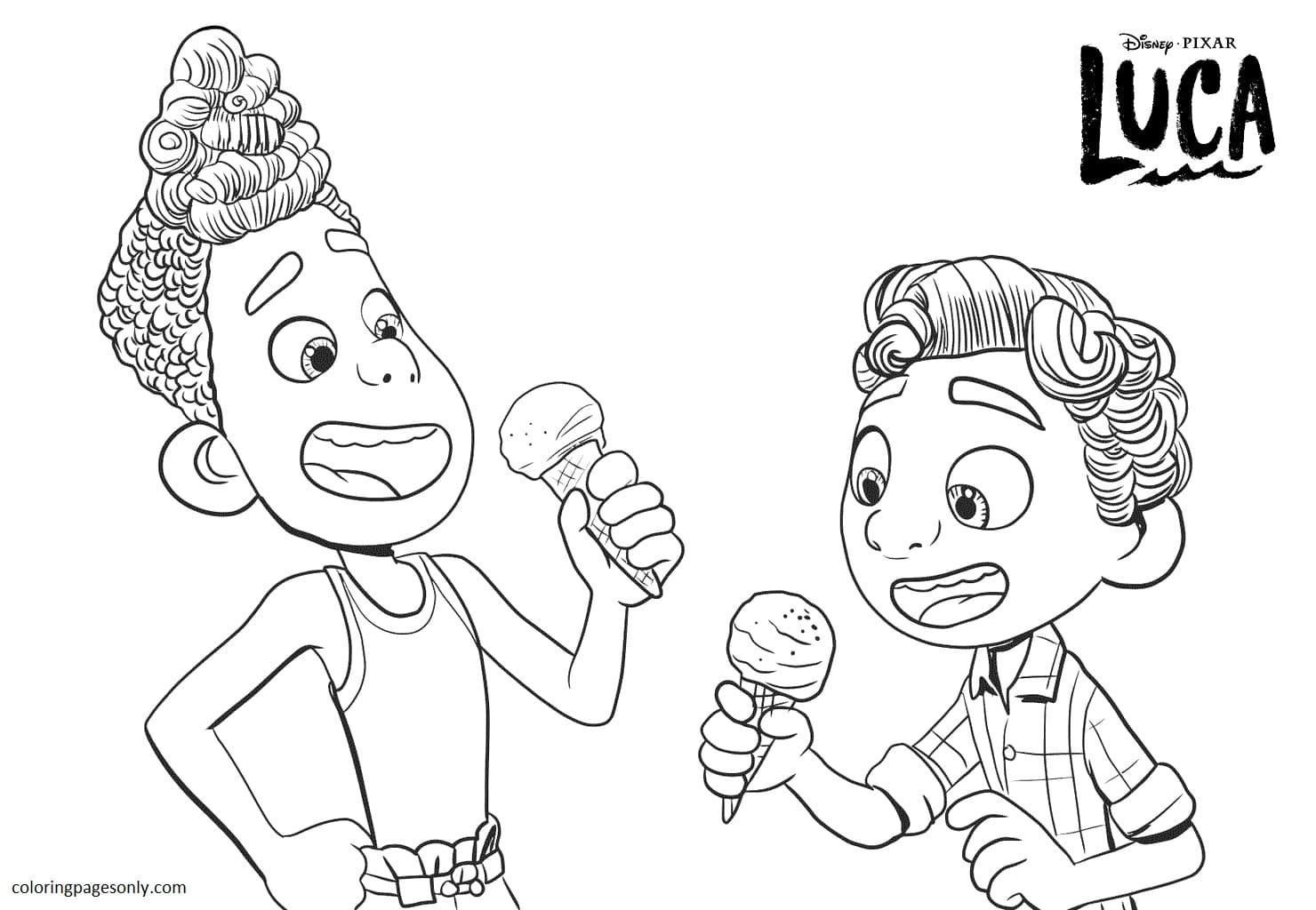 Luca And Alberto Having Ice Cream Coloring Page