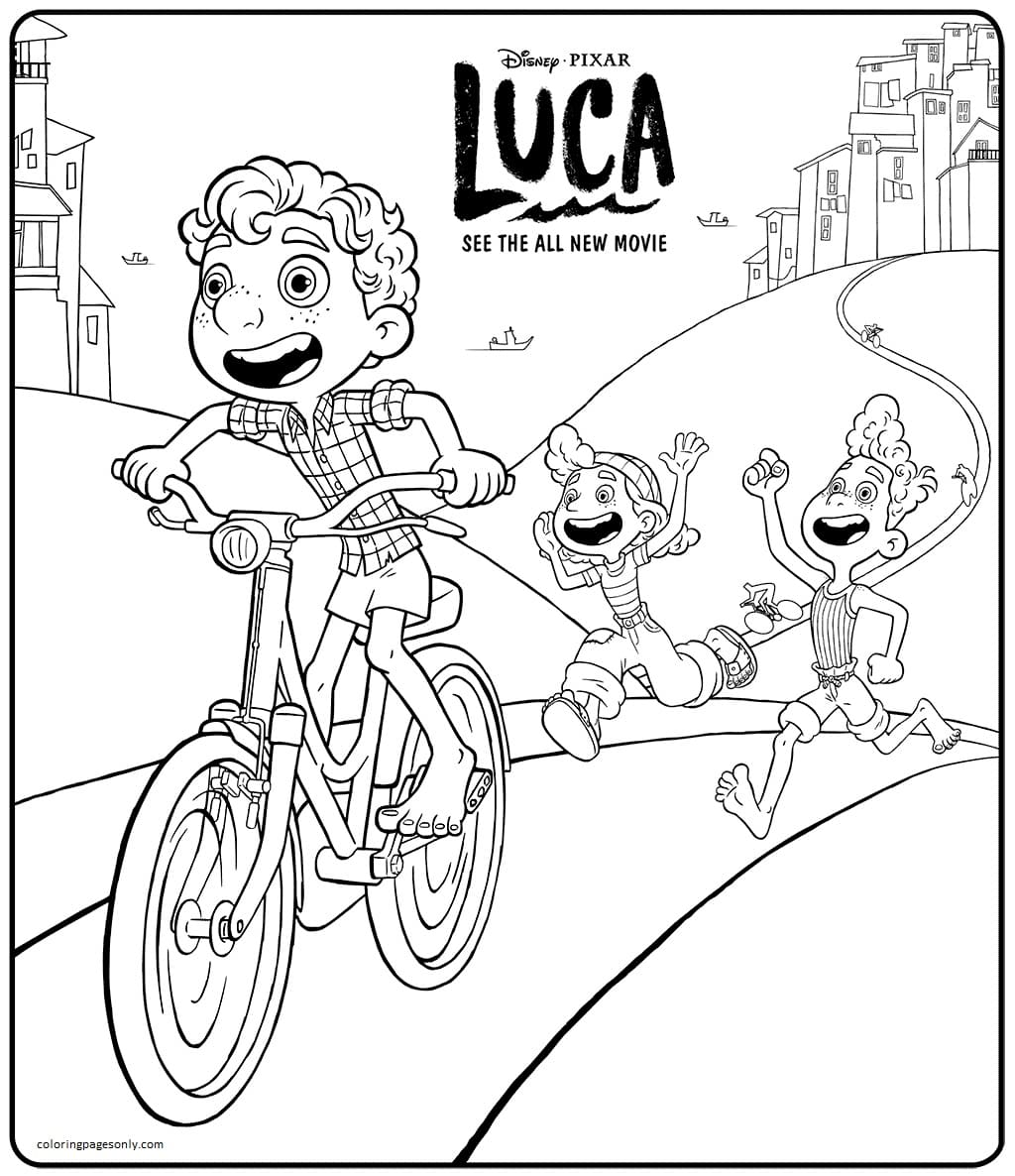 Luca With His Friends Coloring Page