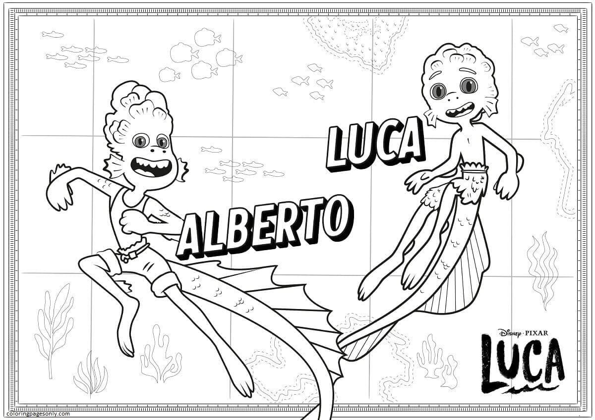 Luca and Alberto the Sea monsters Coloring Page