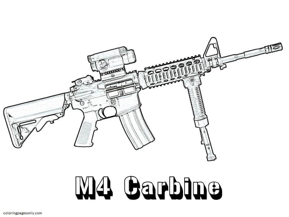 M4 Carbine Coloring Page