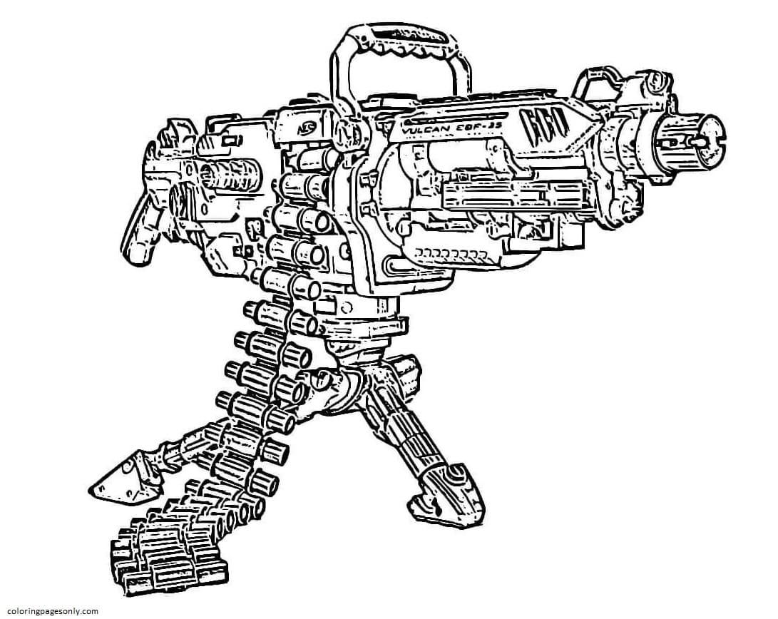 Machine Gun Nerf Coloring Page