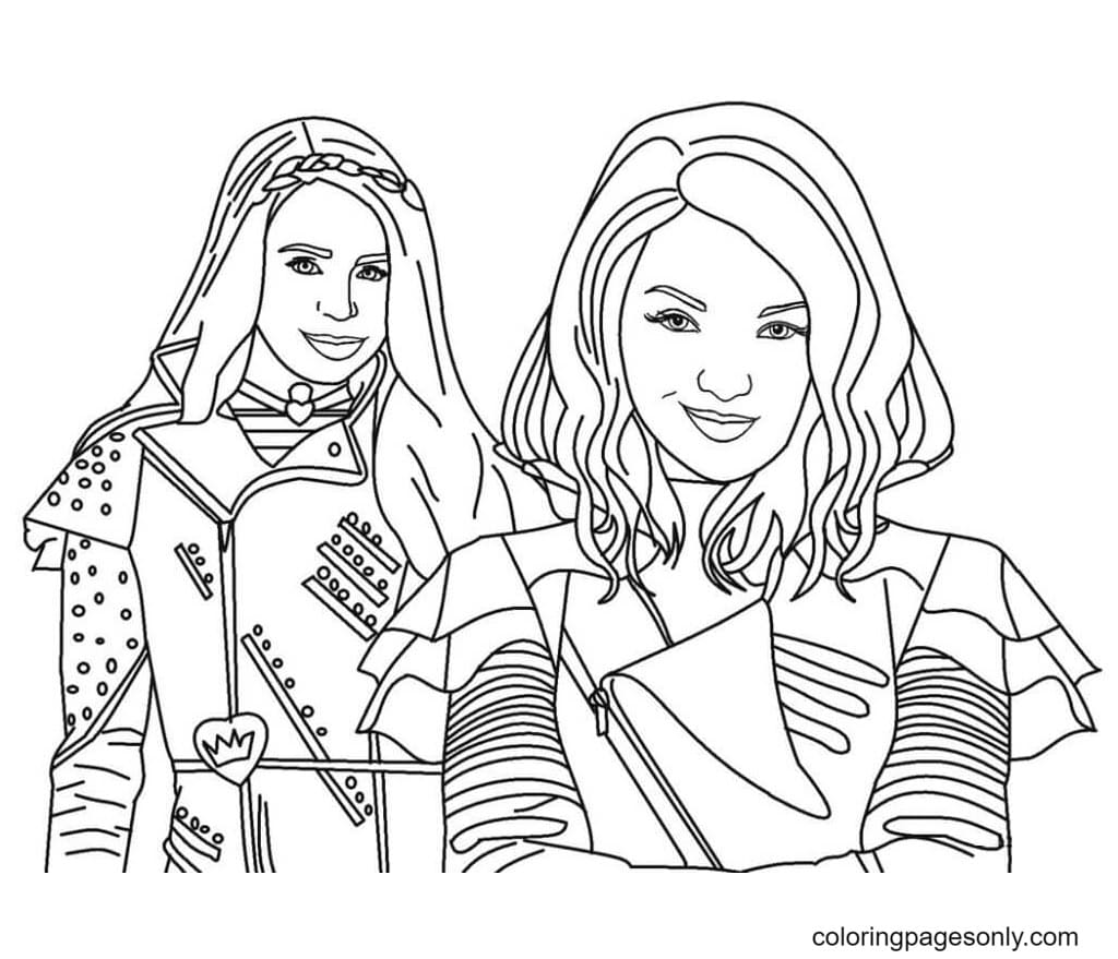 Mal and Evie Descendants Coloring Page