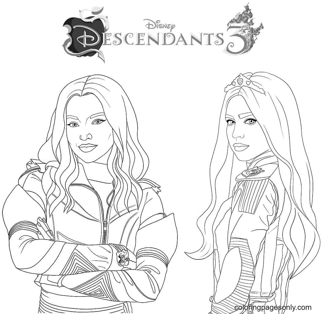 Mal and Evie From Descendants Coloring Page