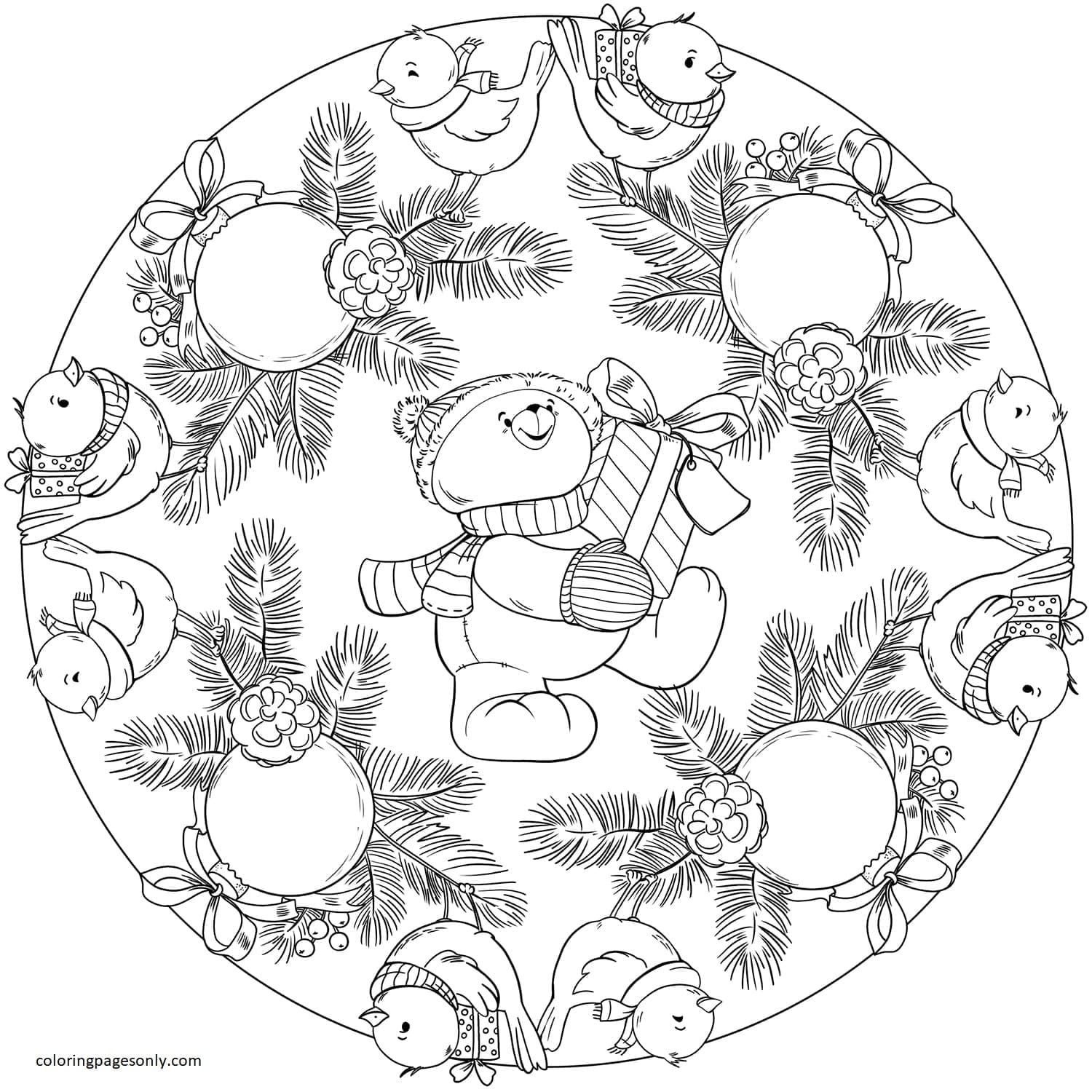 Mandala with Birds, Christmas Ornament and Teddy Bear Coloring Page
