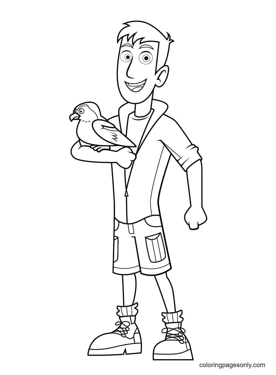 Martin Happily Showing His Parrot Friend Coloring Page