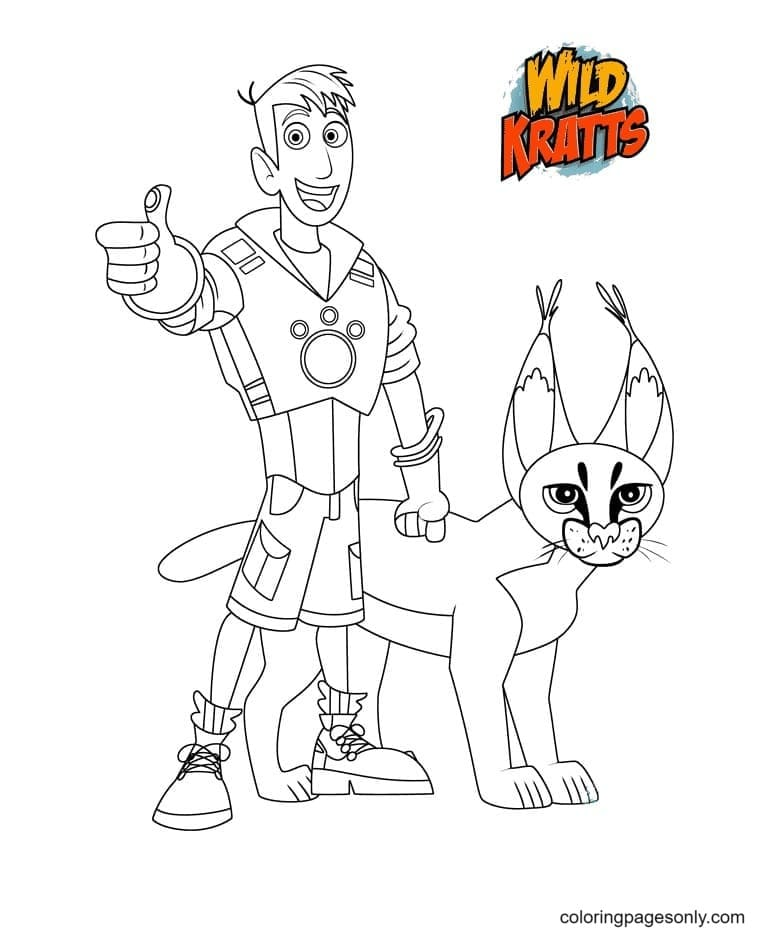 Martin Krat and Caracal Coloring Page