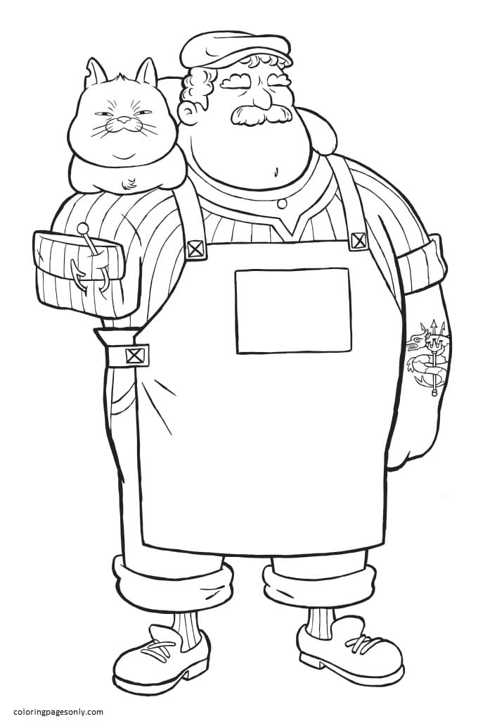 Massimo Marcovaldo and Cat Machiavelli Coloring Page