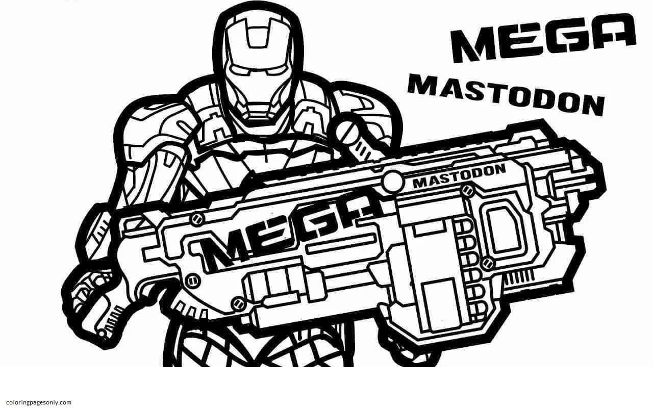 Mega Iron Man Nerf Gun Coloring Page
