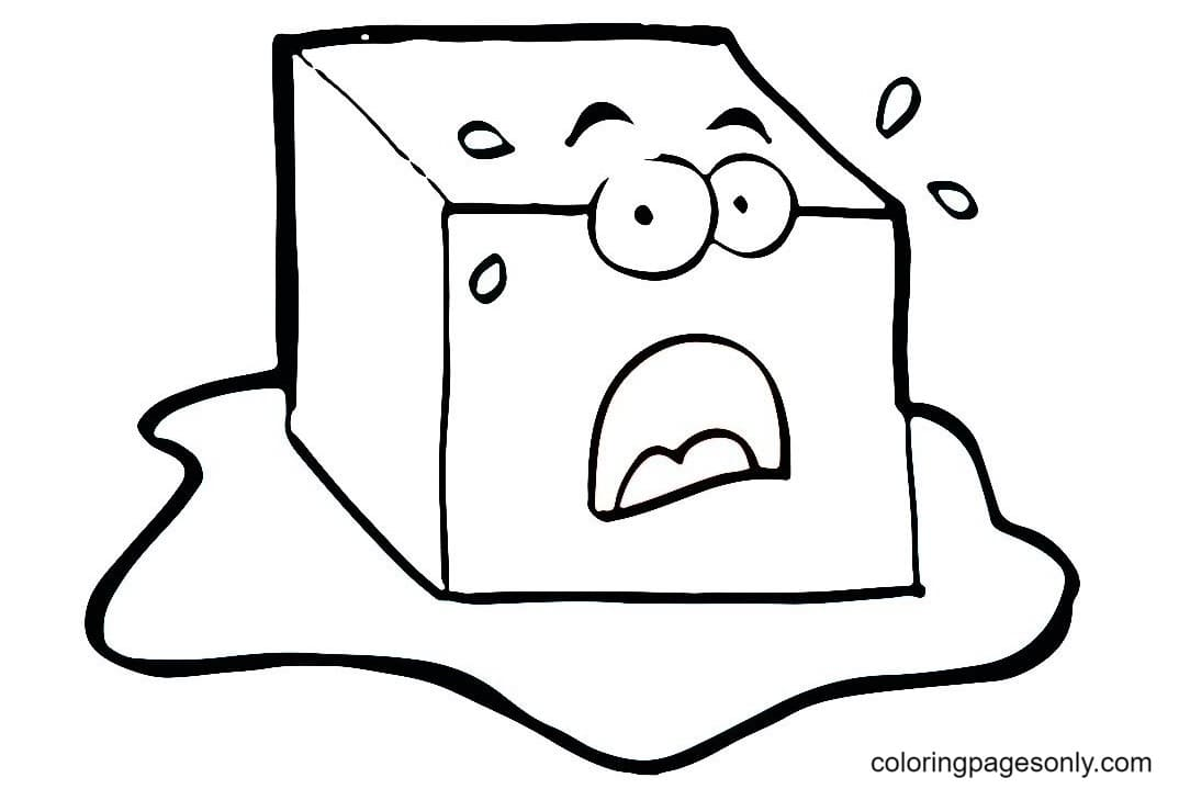 Melting ice cube 1 Coloring Page