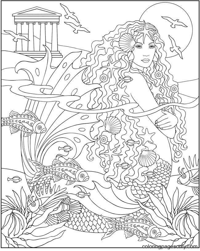 Mermaid Hard Coloring Page