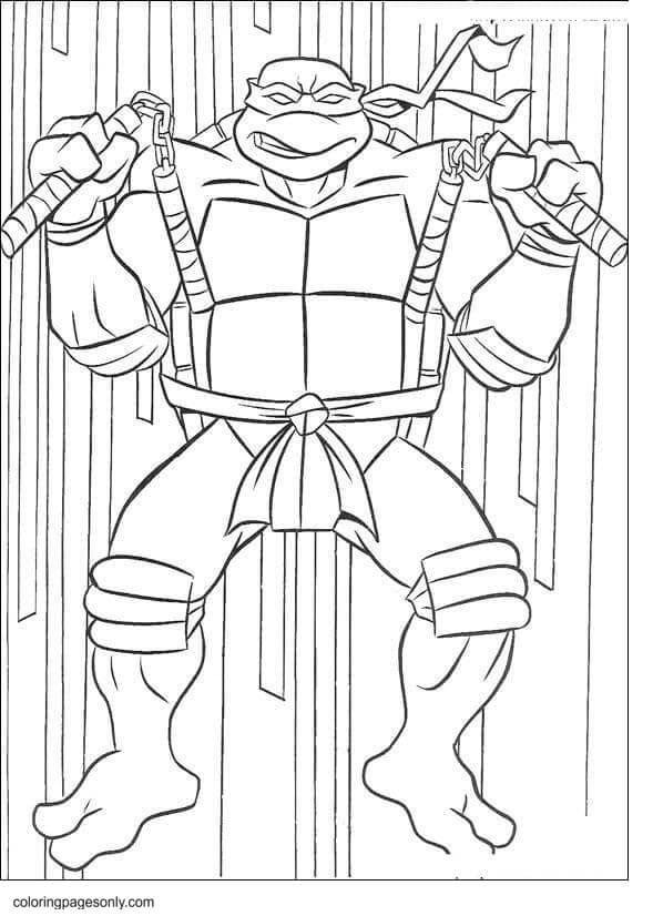 Michelangelo with dual nunchucks Coloring Page