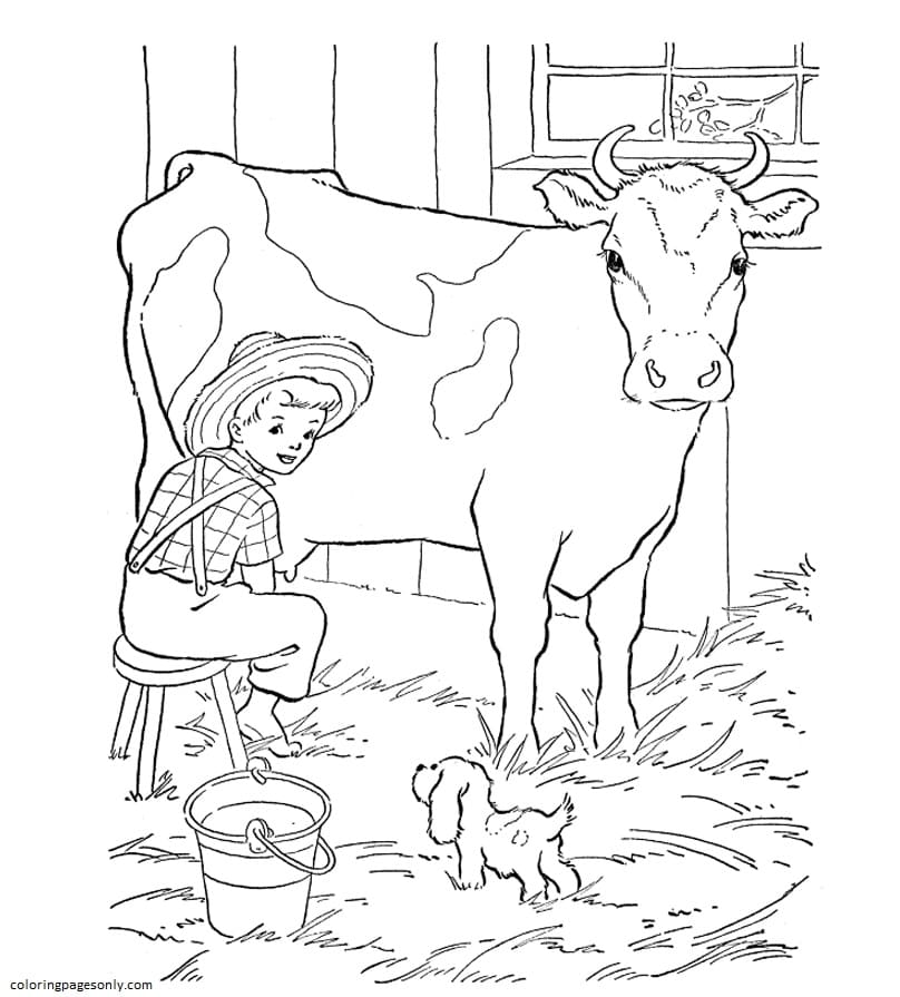 Milking Cow Coloring Page