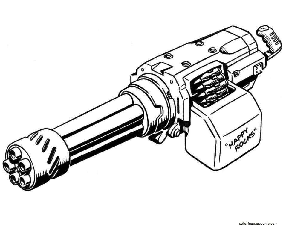 Minigun Coloring Page