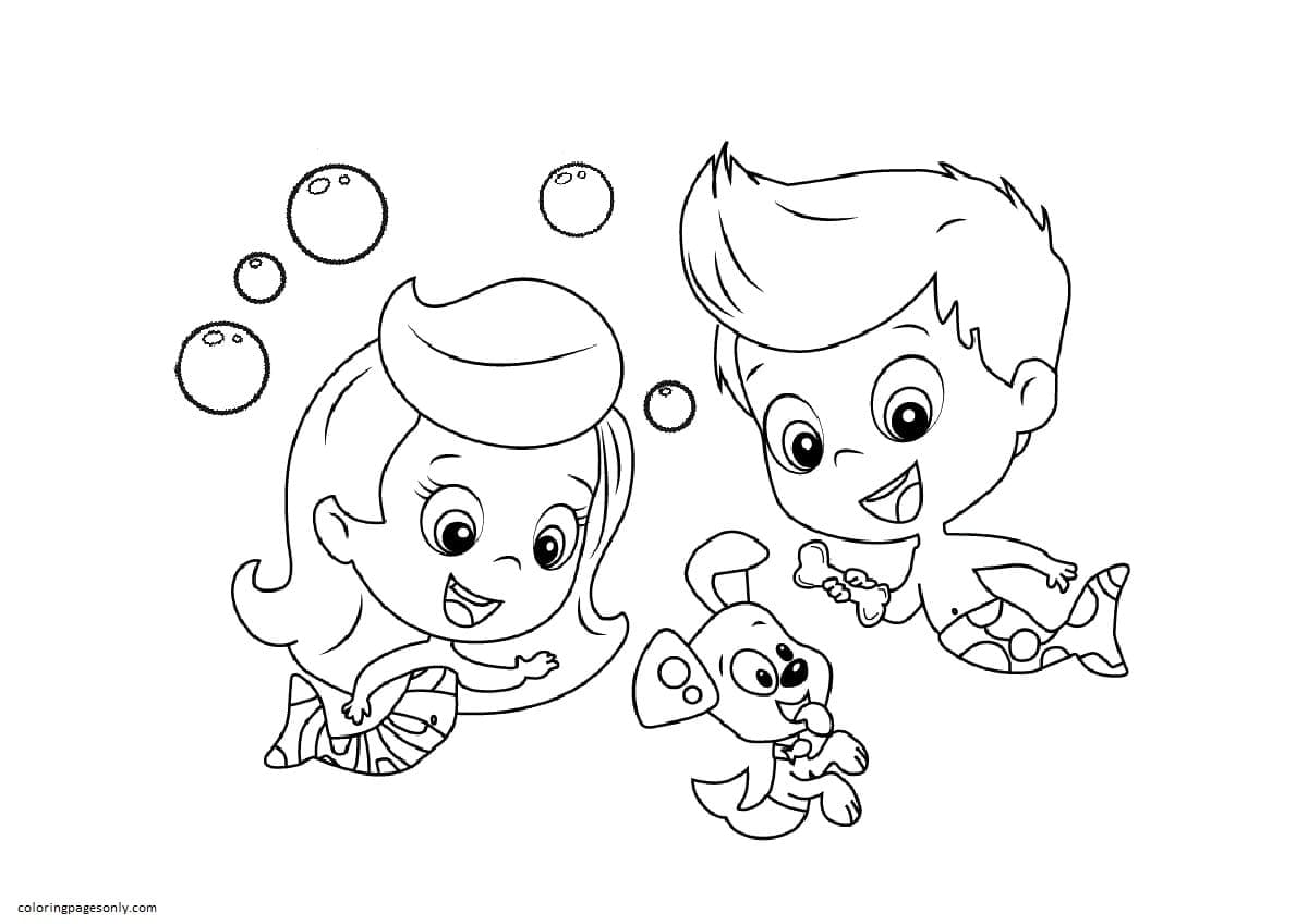 Molly And Gil And Puppy Coloring Page