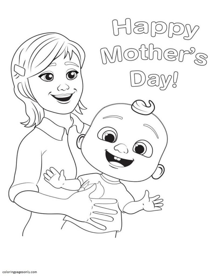 Mom and Little Johnny Cocomelon Coloring Page