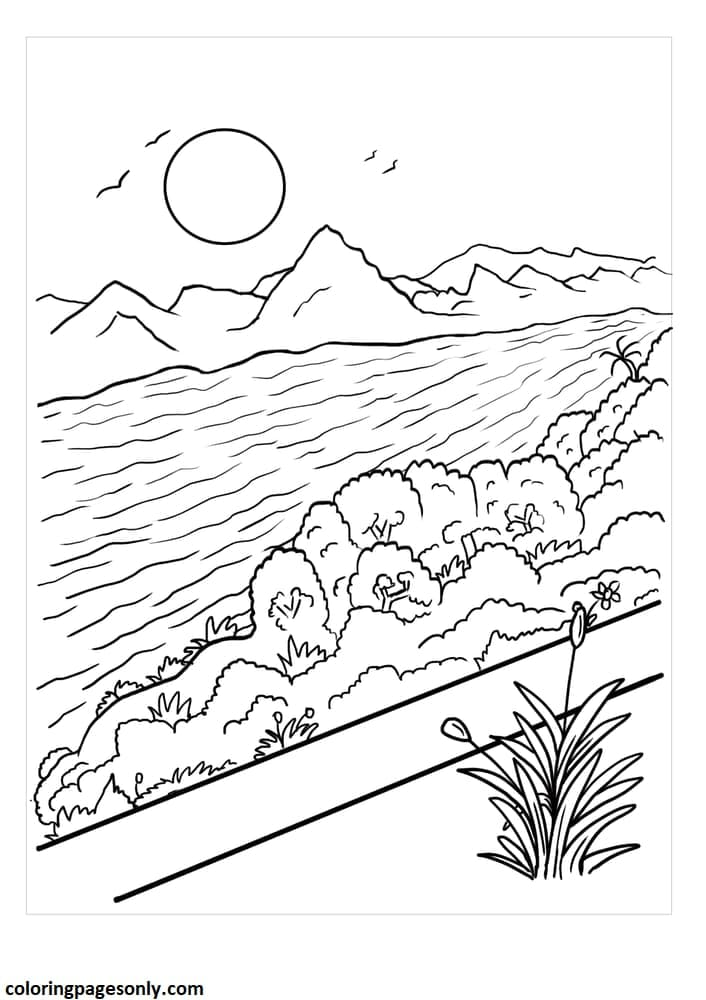 Mountain River Scenery Coloring Page