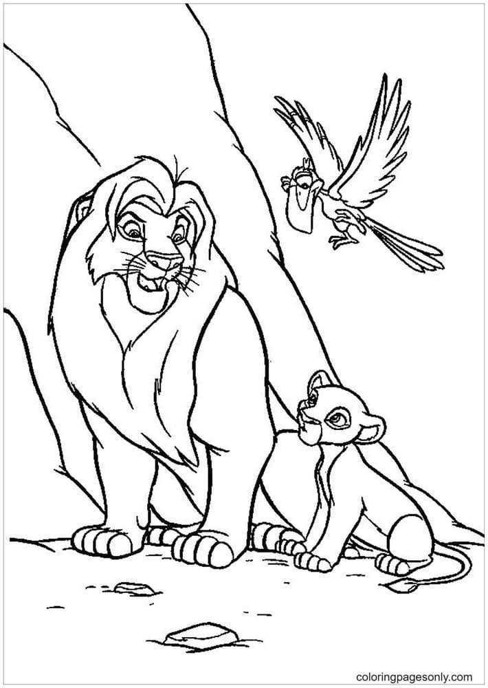 Mufasa, Nala and Zazu from Lion King Coloring Page