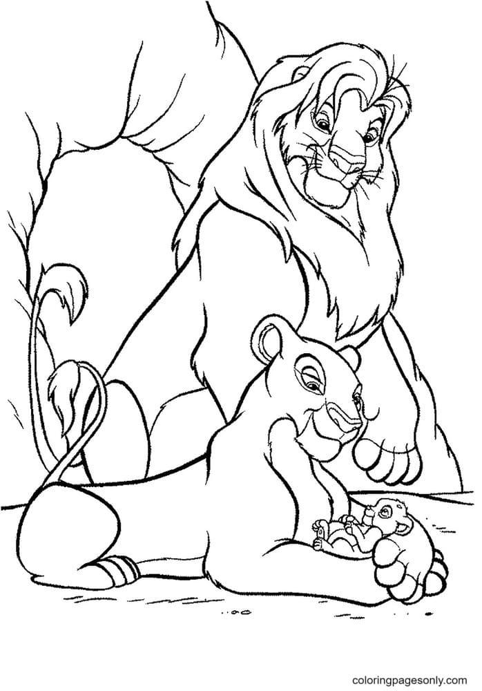 Mufasa, Nala and their son Simba Coloring Page