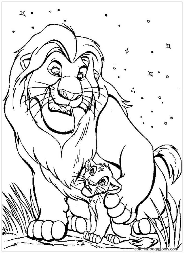 Mufasa and his son Simba Coloring Page