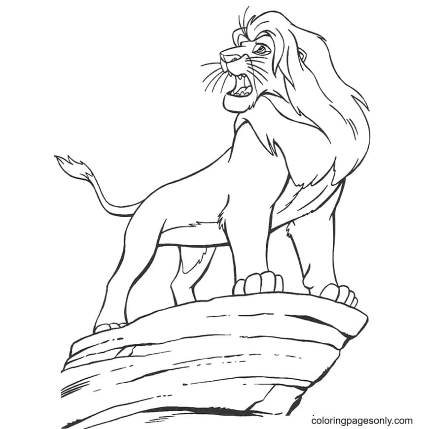 Mufasa on the cliff edge Coloring Page