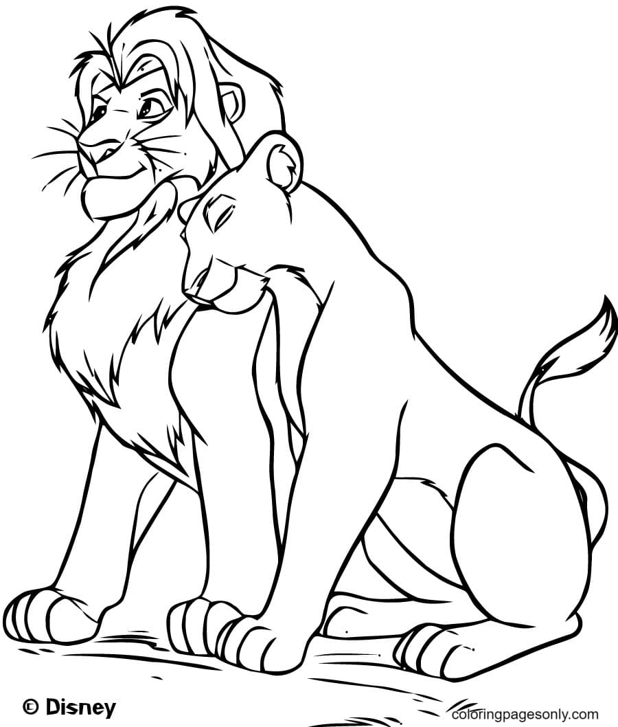 Mufasa with Nala from Disney movie The Lion King Coloring Page