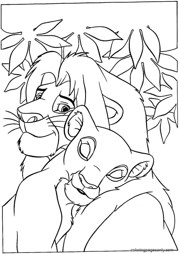 Mufasa with Nala the parents of Simba Coloring Page