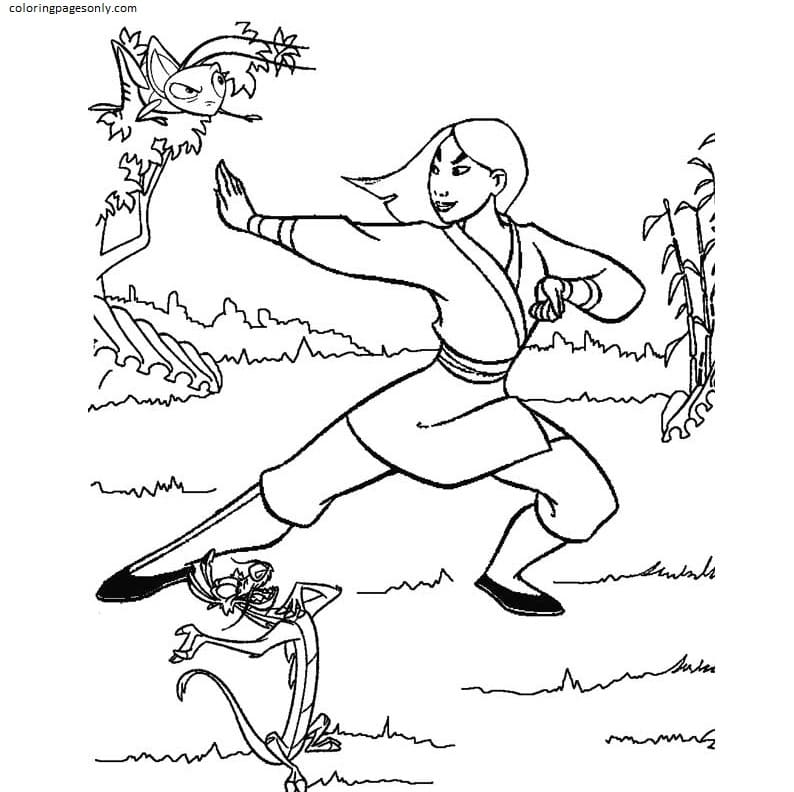 Mulan And Mushu with Grasshopper are learning Kung Fu Coloring Page