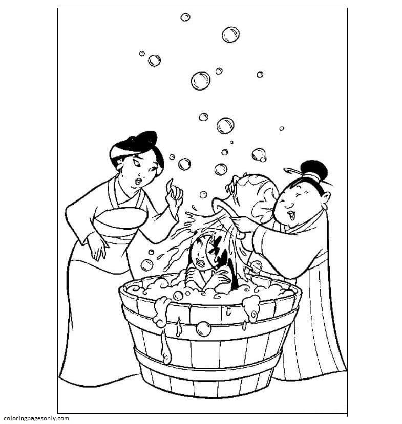 Mulan Is Bathing Coloring Page