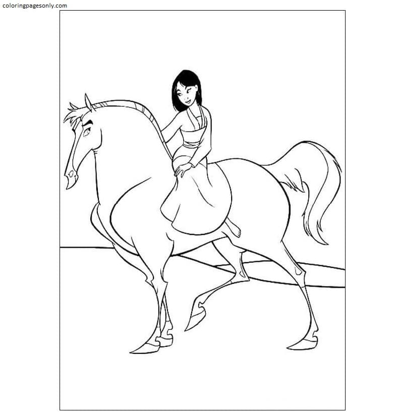 Mulan Is Riding Her Horse Coloring Page