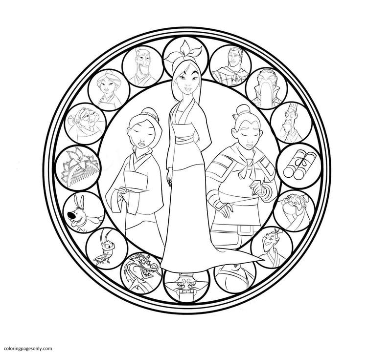 Mulan Mandala Disney Coloring Page
