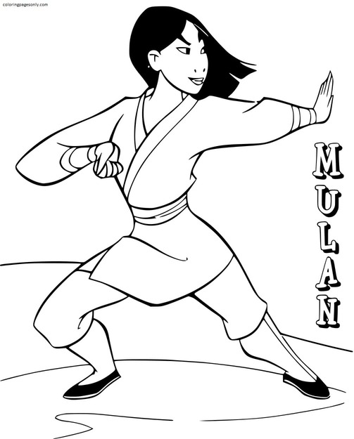 Mulan Training For The War Against The Huns Coloring Page