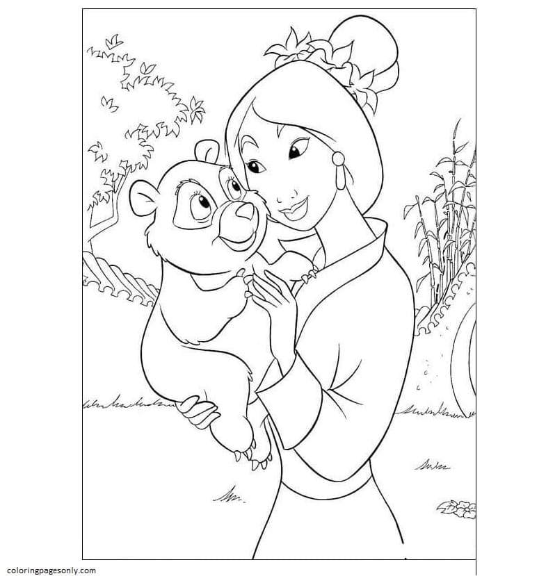 Mulan With a little bear Coloring Page