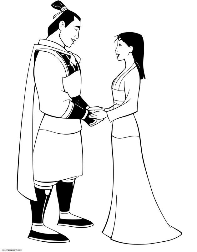 Mulan and Li Shang Coloring Page