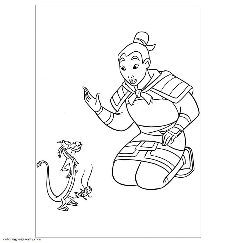 Mulan and Mushu With Grasshopper Coloring Page