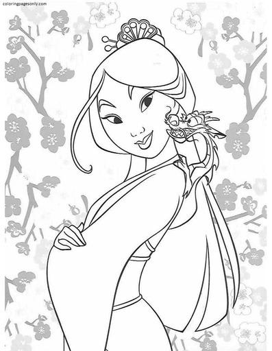 Mulan and Mushu Coloring Page
